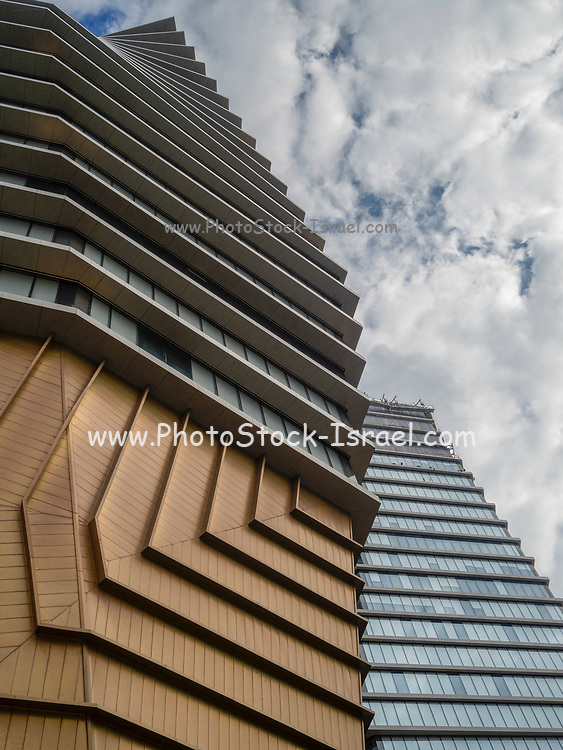 Modern, glass faced High rise buildings in Tel Aviv, Israel. The residential building over the TLV fashion mall - house of fashion