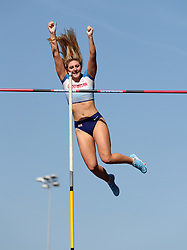 Molly Caudery in the Pole Vault during the Loughborough International Athletics Meeting at the Paula Radcliffe Stadium, Loughborough.