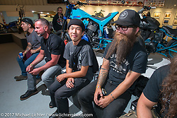 Show particpants and photographers Narihiko Heeko Kumagae and Mikey Revolt Arnold at the Old Iron - Young Blood exhibition media and industry reception in the Motorcycles as Art gallery at the Buffalo Chip during the annual Sturgis Black Hills Motorcycle Rally. Sturgis, SD. USA. Sunday August 6, 2017. Photography ©2017 Michael Lichter.