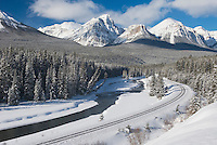 The Bow River and Peaks of the Bow Range in winter, Banff National Park Alberta Canada