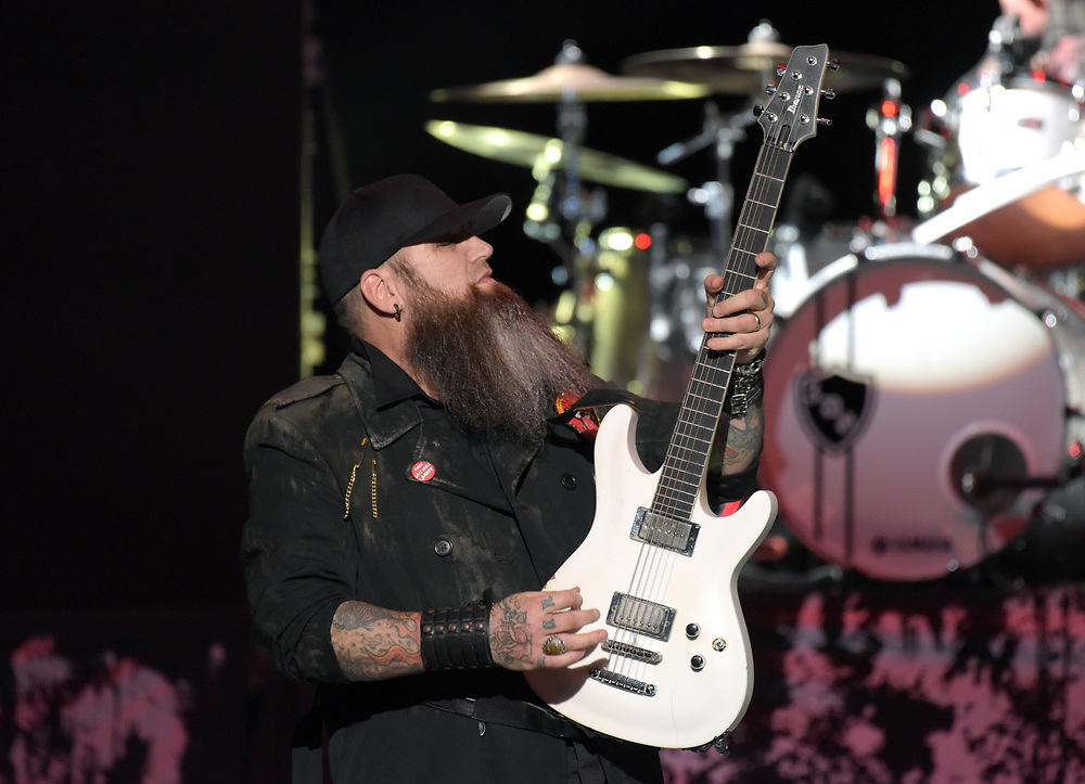 Three Days Grace guitarist Barry Stock performs Feb. 25, 2019, at Madison Square Garden in New York City.