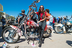 Beth Roberts of NC at the Boardwalk Bike Show during Daytona Bike Week. FL, USA. March 14, 2014.  Photography ©2014 Michael Lichter.
