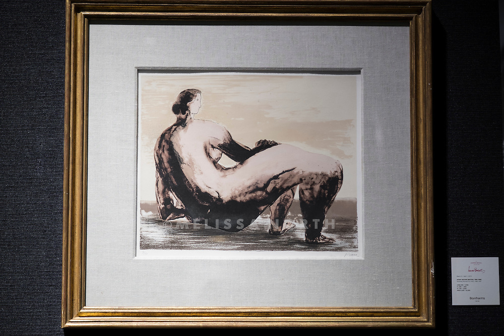 Henry Moore O.M., C.H., Reclining Woman II, est £1,300 - 2,000, at a preview of the auction highlights from the Estate of Lauren Bacall, at Bonhams, London, UK on 13th February 2015. The preview of 50 selected lots features works by Henry Moore, David Hockney, Robert Graham, Noel Coward and Jim Dine - and is due to be auctioned at Bonhams New York on 31 March and 1 April 2015.