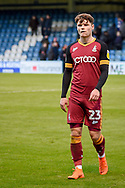 Bradford City defender Connor Wood (23) during the EFL Sky Bet League 1 match between Gillingham and Bradford City at the MEMS Priestfield Stadium, Gillingham, England on 27 October 2018.
