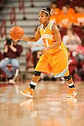 Jan 8, 2012; Fayetteville, AR, USA; Tennessee Lady Volunteers guard Briana Bass (1) dribbles the ball during a game against Arkansas Razorbacks at Bud Walton Arena. Tennessee defeated Arkansas 69-38. Mandatory Credit: Beth Hall-US PRESSWIRE