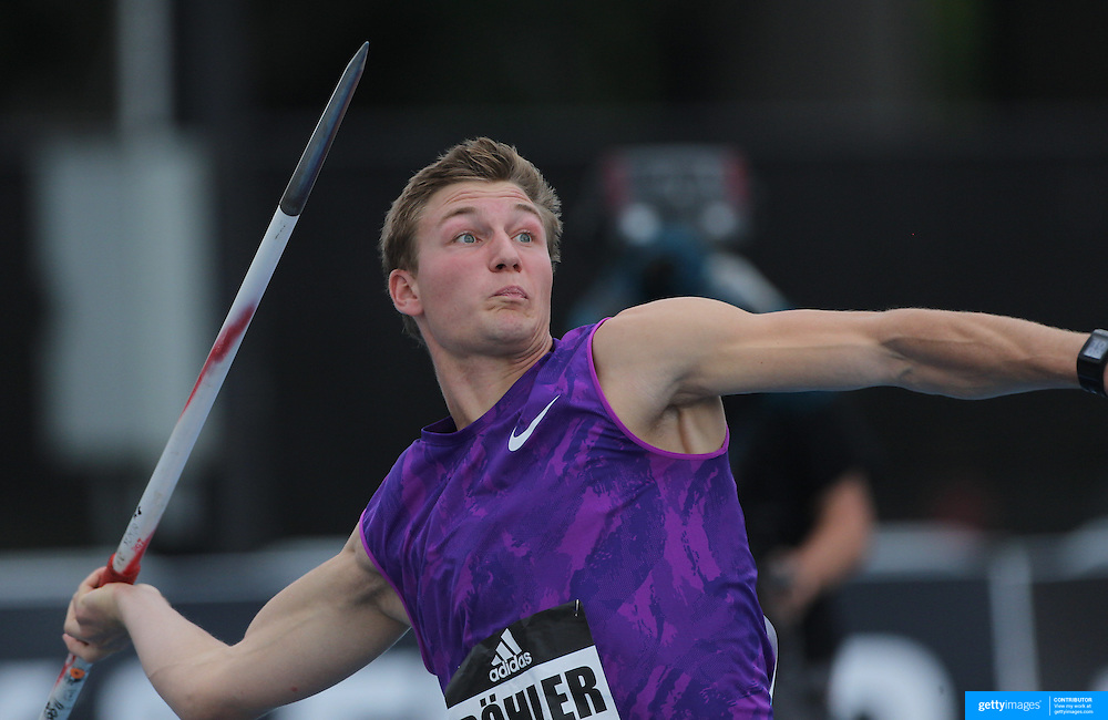 Thomas Rohler, Germany, in action in the Men's Javelin competition during the Diamond League Adidas Grand Prix at Icahn Stadium, Randall's Island, Manhattan, New York, USA. 13th June 2015. Photo Tim Clayton