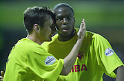 Watford, England. <br /> Vicarage Road.<br /> Football - Worthington Cup 9/10/01<br /> Watford v Bradford:<br /> Glifton Noel-Williams id congratulated by Stephen Glass after his second goal.   [Mandatory Credit:Peter SPURRIER/Intersport Images]