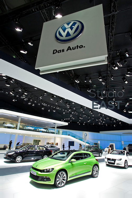 The Volkswagen booth awaits visitors at Shanghai Motor Show, in Shanghai, China, on April 19, 2009. Shanghai auto show opened Monday for the press and will be open April 24-28 for the public. China is the only major auto market still growing despite the global economic slowdown. U.S. and global auto makers see China as the place where they can find the sales they desperately lack in their home market. Chinese automakers see the opportunity to assess themselves as major players in the world market. Photo by Lucas Schifres/Pictobank