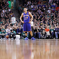 04 March 2012: New York Knicks point guard Jeremy Lin (17) is seen during the Boston Celtics 115-111 (OT) victory over the New York Knicks at the TD Garden, Boston, Massachusetts, USA.
