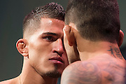 DALLAS, TX - MARCH 13:  Anthony Pettis faces off with Rafael Dos Anjos during the UFC 185 weigh-ins at the Kay Bailey Hutchison Convention Center on March 13, 2015 in Dallas, Texas. (Photo by Cooper Neill/Zuffa LLC/Zuffa LLC via Getty Images) *** Local Caption *** Anthony Pettis; Rafael Dos Anjos