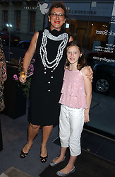 MARDI GILMOUR and her daughter GABRIELLA GILMOUR at a private view of fashion designer Lindka Cierach's Couture Dresses drawn by Trudy Good held at the Belgravia Gallery, 45 Albemarle Street, London on 21st September 2005.<br />