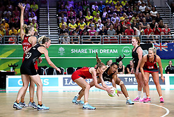 England's Helen Housby (left) and New Zealand's Temalisi Fakahokotau in action in the netball at the Gold Coast Convention and Exhibition Centre during day seven of the 2018 Commonwealth Games in the Gold Coast, Australia.