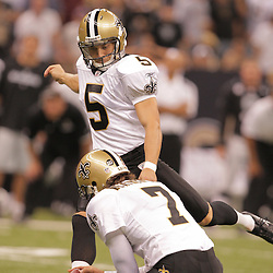 2008 October, 12: New Orleans Saints rookie kicker Taylor Mehlhaff (5) during a week six regular season game between the Oakland Raiders and the New Orleans Saints at the Louisiana Superdome in New Orleans, LA.