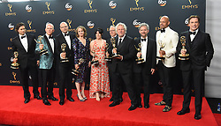 September 18, 2016 - Los Angeles, California, United States - The cast and crew of ''The People v. O.J. Simpson: American Crime Story'' pose backstage with the Emmy award that the won for Outstanding Limited Series  at the 68th Annual Emmy Awards at the Microsoft Theater in Los Angeles, California on Sunday, September 18, 2016. (Credit Image: © Michael Owen Baker/Los Angeles Daily News via ZUMA Wire)