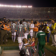 Fluminense players take to the field, some with their children during the Fluminense FC V CR Vasco da Gama Futebol Brasileirao League match at the Maracana, Jornalista Mário Filho Stadium, Rio de Janeiro,  Brazil. 22nd August 2010. Photo Tim Clayton.