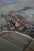 Nederland, Noord-Holland, Randsdorp, 10-01-2009; winterscene, karakteristieke stompe toren van Ransdorp te midden van bvroeren sloten en berijpte weilanden; winter scene, the characteristic blunt tower of Ransdorp amidst frozen  ditches and frosted meadows; schaats, schaatsen, ijs, ijspret, pret, ijsbaan, natuurijs, schaatsen rijden, winter, koud, vriezen, min nul, beneden nul, koud, celsius, skating, ice skating, ice, fun, skating rink, natural, skate, snow, cold, freezing, minus zero, below zero, cold, winterlandscahp, winter landscape, tocht, toertocht, koek en zopie . .luchtfoto (toeslag); aerial photo (additional fee required); .foto Siebe Swart / photo Siebe Swart