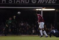 Photo: Olly Greenwood.<br />Southend United v Manchester United. Carling Cup. 07/11/2006. Manchester United's Cristiano Ronaldo see's his shot saved by Southend's Darrryl Flahavan