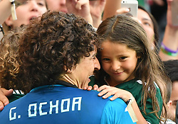 June 23, 2018 - Rostov-on-Don, Russia - Mexico's goalkeeper Guillermo Ochoa (L) celebrates with his daughter after the 2018 FIFA World Cup Group F match between South Korea and Mexico in Rostov-on-Don, Russia, June 23, 2018. Mexico won 2-1. (Credit Image: © Li Ga/Xinhua via ZUMA Wire)