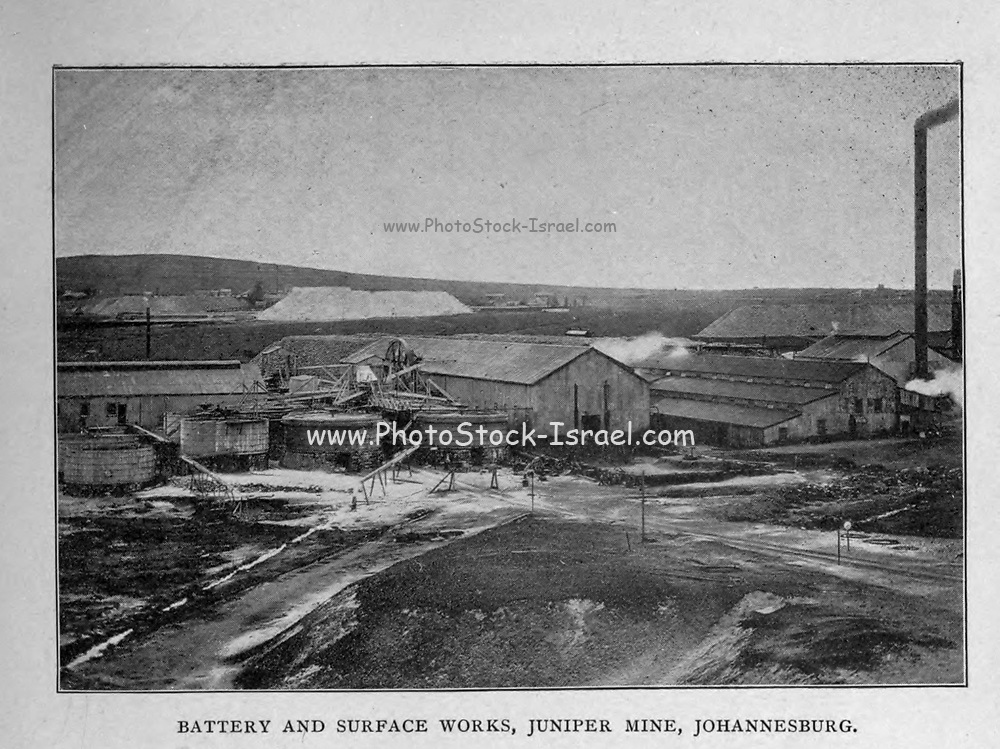 Battery and Surface works, Juniper Mine, Johannesburg from the book ' Boer and Britisher in South Africa; a history of the Boer-British war and the wars for United South Africa, together with biographies of the great men who made the history of South Africa ' By Neville, John Ormond Published by Thompson & Thomas, Chicago, USA in 1900
