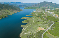 Aerial view of artificial lake Plastiras and surroundings located in Karditsa region, Greece