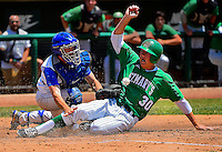 Davis High School's Hudson Forrester (14) fails to make the tag at home plate as St. Mary's High School's Cade Peters (30), scores the only run of the game, forcing a third game in the best of three game series for the Sac-Joaquin Section Baseball Championship at University of the Pacific, Saturday May 31, 2014.<br /> Photo Brrin Baer