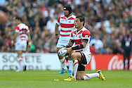 Japan's Full Back Ayumu Goromaru eyes his kick during the Rugby World Cup Pool B match between South Africa and Japan at the Community Stadium, Brighton and Hove, England on 19 September 2015. Photo by Phil Duncan.
