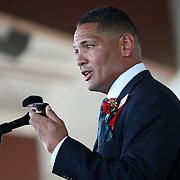 Boxer Virgil Hill speaks during his induction into the 2013 International Boxing Hall of Fame induction ceremony  on Sunday, June 9, 2013 in Canastota, New York.  (AP Photo/Alex Menendez)
