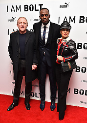 Francois-Henri Pinault, Usain Bolt and Salma Hayek attending the 'I Am Bolt' World Premiere at Odeon Leicester Square, London.