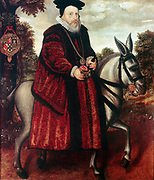 William Cecil, 1st Baron Burghley (1520-1598) English statesman, chief secretary of state to Elizabeth I from 1558. Cecil in crimson robe riding a white mule.
