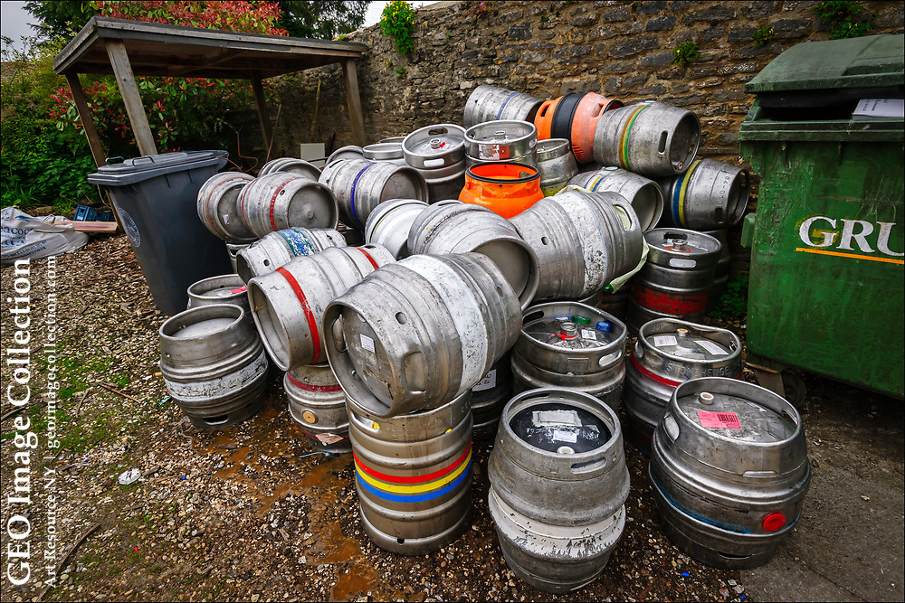 A long weekend of drinking leaves a pile of empty stainless steel beer kegs behind a the Royal Oak, a seventeenth century country pub in the Cotswolds. The kegs, which hold 11 imperial gallons or 88 imperial pints, make an appealing target for professional thieves who sell them for scrap, costing breweries millions of pounds each year.