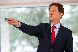 © Licensed to London News Pictures. 05/08/2014. LONDON, UK. Deputy Prime Minister Nick Clegg gives a speech on immigration in north London on Tuesday, 05 August 2014. Photo credit : Tolga Akmen/LNP