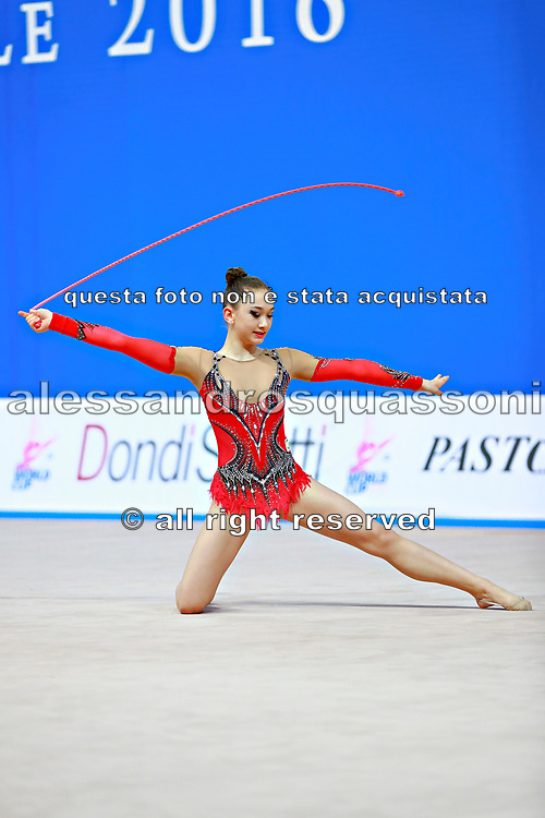 "Alexandrou Christina during rope routine at the International Tournament of rhythmic gymnastics ""Città di Pesaro"", 02 April,2016. Alexandrou is an Cypriot individualistic gymnast, born in Nicosia, 27 February.<br />