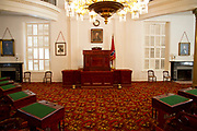Interior of the Alabama state capitol building, Senate Chamber. Montgomery, AL, USA