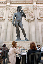 Model of Michelangelo s David statue at an Italian themed cafe in Nagoya Japan