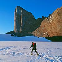 Jon Krakauer skis below Rakekniven Spire in Queen Maud Land.