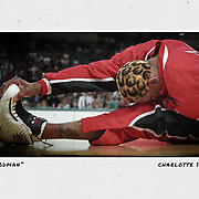 Chicago's Dennis Rodman warms up before the Bulls' game against the Hornets in Charlotte in 1998. ©Travis Bell Photography