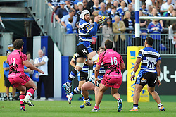 Dave Attwood of Bath Rugby wins the ball in the air - Photo mandatory by-line: Patrick Khachfe/JMP - Mobile: 07966 386802 13/09/2014 - SPORT - RUGBY UNION - Bath - The Recreation Ground - Bath Rugby v London Welsh - Aviva Premiership