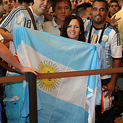 """Argentina fans of Marcos Maidiana pack the lobby of the MGM Grand Garden Arena prior to the official weigh-ins for the Mayweather versus Maidana boxing match slated as """"The Moment"""", at the MGM Grand hotel on Friday, May 2, 2014 in Las Vegas, Nevada.  (AP Photo/Alex Menendez)"""