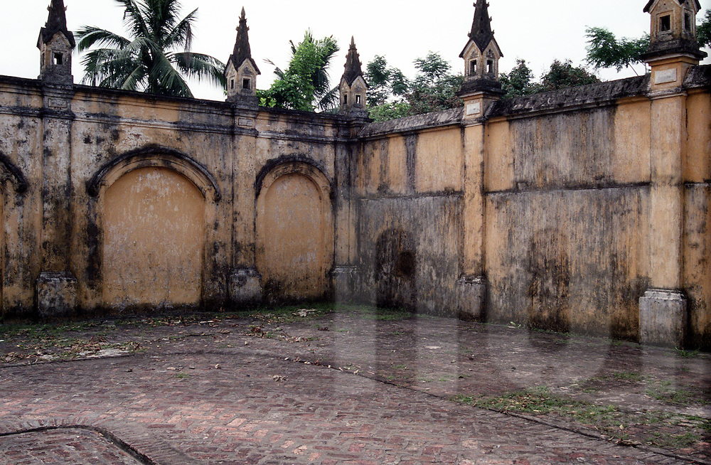 Outer wall in the back of a yard's church. Nam Dinh province, Vietnam, Asia