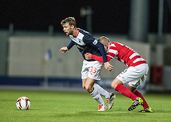 Falkirk's Rory Loy and Hamilton's Grant Gillespie.<br /> Falkirk 0 v 0 Hamilton, Scottish Championship game at The Falkirk Stadium. © Michael Schofield 2014.