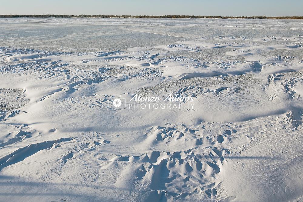 Lake Overholser is frozen on Wednesday, Feb. 9, 2011 as seen looking NW across the lake.  (Photo by Alonzo J. Adams)