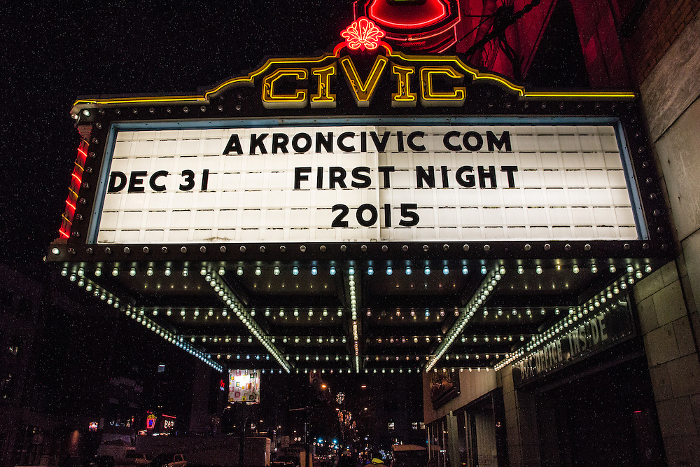 Akron Civic Theatre sign at First Night Akron 2015