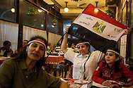 Women that call themselves 'revolutionaries' sit in cafe Riche, renouned for it's anti-government thinkers of Egypt's 2011 revolution.