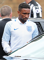 Jermain Defoe outside St Joseph's Church in Blackhall, County Durham. where the funeral of Bradley Lowery, the six-year-old football mascot whose cancer battle captured hearts around the world, took place.