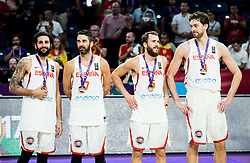 Ricky Rubio of Spain, Juan Carlos Navarro of Spain, Sergio Rodriguez of Spain, Pau Gasol of Spain at medal ceremony after placed third during basketball match between National Teams  Spain and Russia at Day 18 in 3rd place match of the FIBA EuroBasket 2017 at Sinan Erdem Dome in Istanbul, Turkey on September 17, 2017. Photo by Vid Ponikvar / Sportida