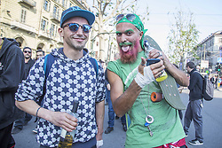 April 29, 2017 - Turin, Italy - Over 2000 people took part in the Cannabis parade and rally in Turin, Italy, on 29 April 2017. A lot of young people walked in the center city asking for legalization of marijuana. (Credit Image: © Mauro Ujetto/NurPhoto via ZUMA Press)
