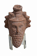 A terra-cotta Dionysus head flask. Hellenistic Egypt, Fayium 3rd-1at century BC15.0cm high