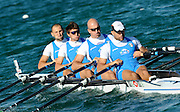 Munich, GERMANY,  ITA M4X, bow Luca GHEZZI, Federico GATTINONI, Rossano GALTAROSSA and Simone RAINERI, move away from the start of their semi-final, at the FISA World Cup Munich, held on the Olympic Rowing Course, 10/05/2008    [Mandatory Credit Peter Spurrier/ Intersport Images] Rowing Course, Olympic Regatta Rowing Course, Munich, GERMANY