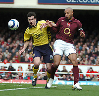 Photo: Ed Godden.<br />Arsenal v Aston Villa. The Barclays Premiership. 01/04/2006. Liam Ridgewell (L) and Arsenals Thierry Henry.