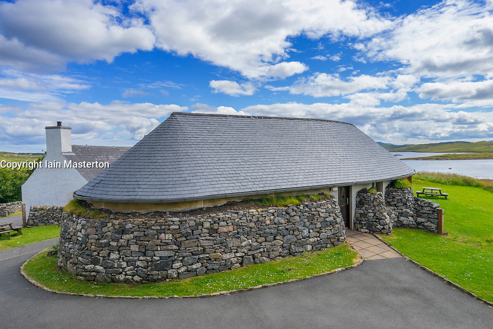 Modern visitors' centre at Callanish Standing Stones on Isle of Lewis in Outer Hebrides Scotland United Kingdom